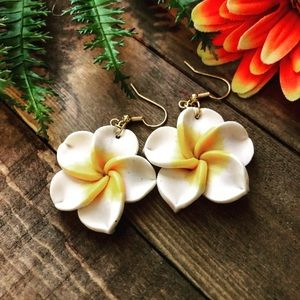 Polymer Plumeria Flower earrings,Flower earrings